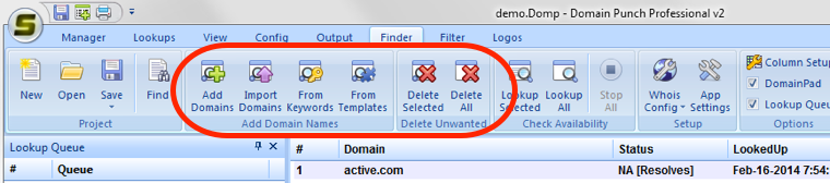 Adding and deleting domains in Domain Finder