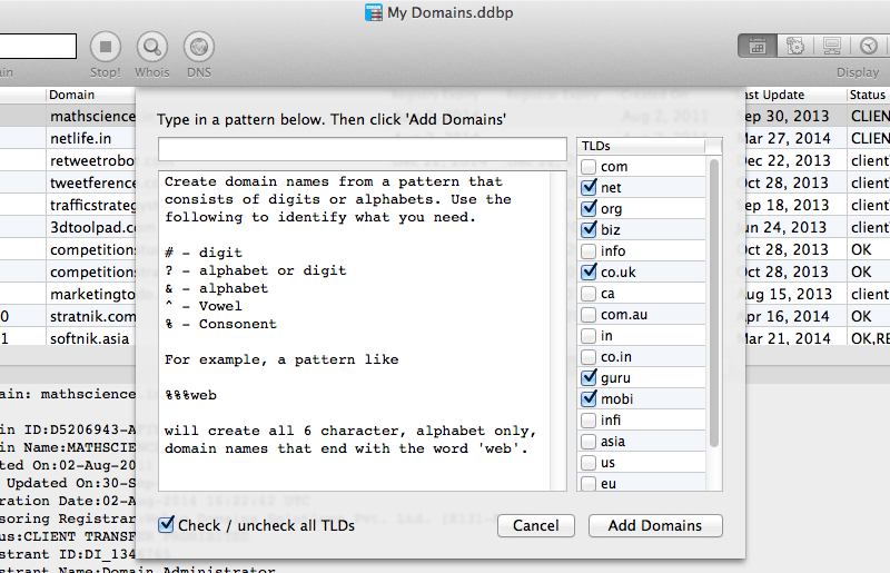 Alpha-numeric domain name generator in Watch My Domains for Mac OS X