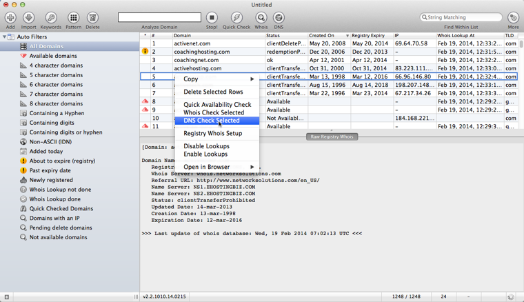 Domain Name Analyzer (Mac OS X)