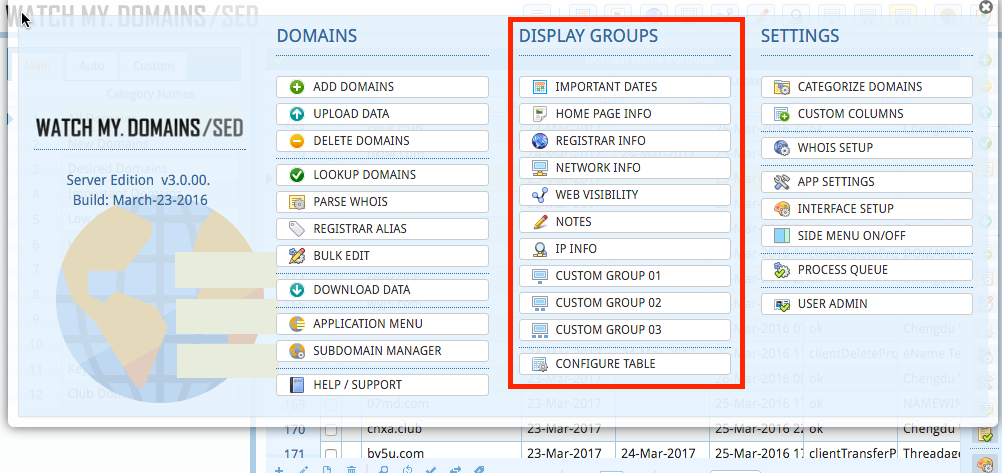 Domain Display Groups in Navigation Menu