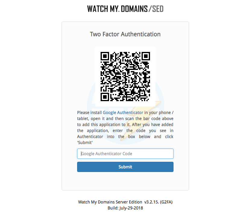 Add Watch My Domains SED to Authenticator