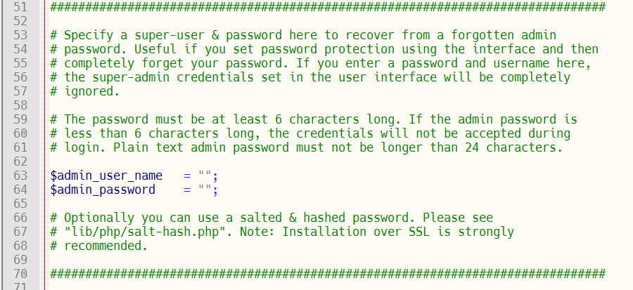 Password reset using configuration file.