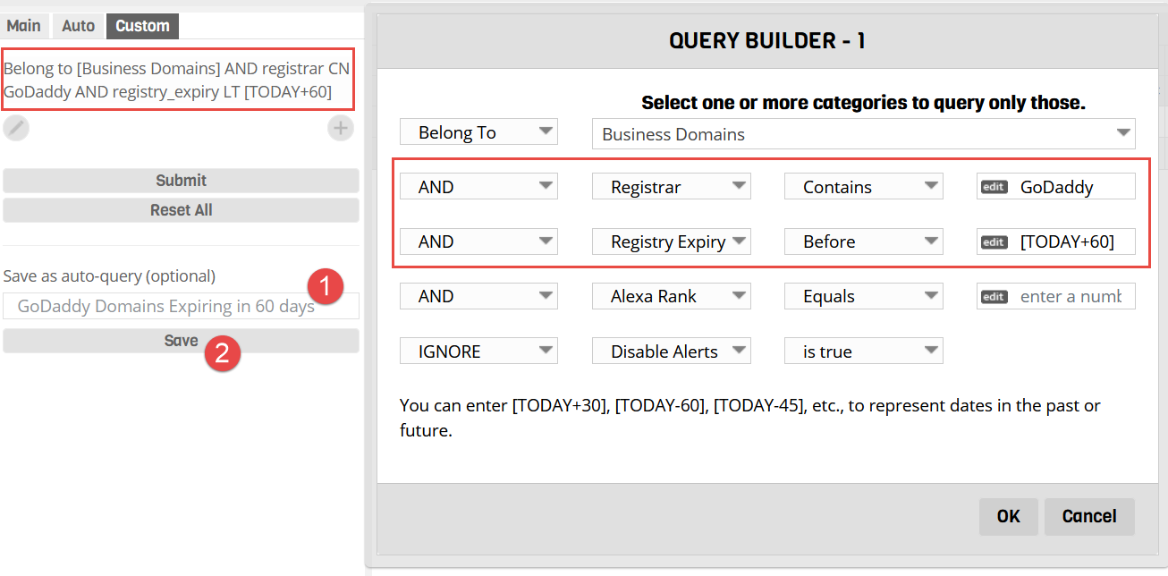 Save Custom Query as an Auto Query