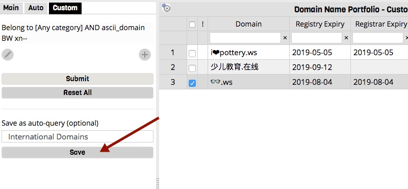 Custom Query to Domain Display Filters