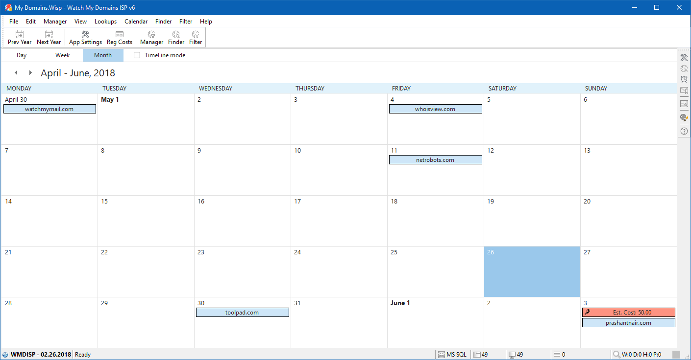 Calendar View and Registration Cost Estimator